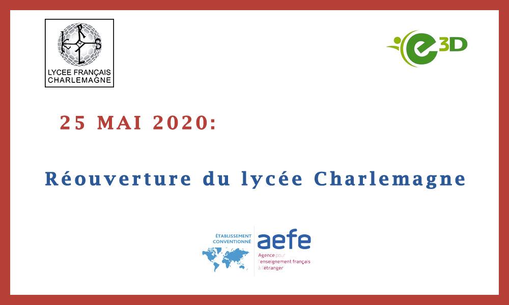 Réouverture du lycée Charlemagne ce lundi 25 Mai 2020